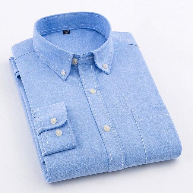 Brand Men Shirt Long Sleeve 2018 Spring New Solid White Casual Shirt Men Oxford Dress Shirt Youth Plus Size Male Shirt Clothing