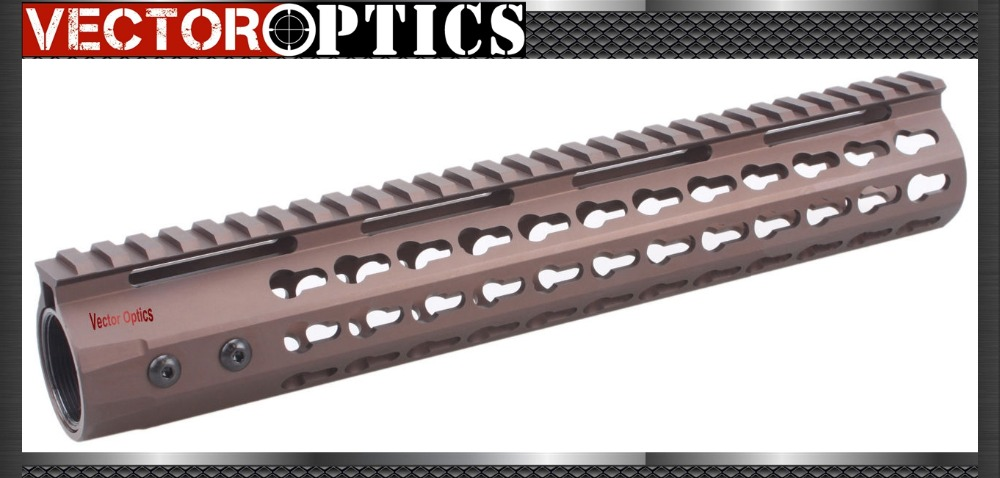 Vector Optics GEN 3 KeyMod Slim 12 inch Rifle Tactical Free Float Handguard Rail Mount Burnt Bronze AR 15 M4 M16 Accessories image