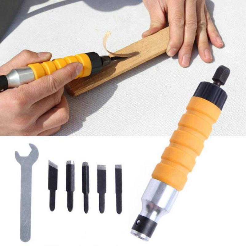 1 set di Legno Scalpello Intagliare Tool Set Mobili In Legno Intagliare Strumento di Scalpello Elettrico + 5 Intagliare Punte Chiave Flessibile albero