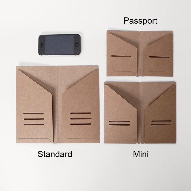 Traveler's Notebook Kraft Paper Pocker Business Card Holder Standard & Passport Style File Folder
