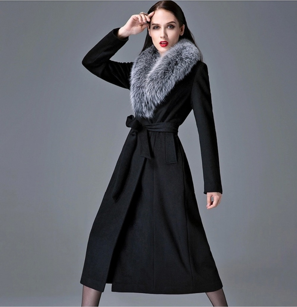d9b29d2830d2 2015 Slim Winter Coat Long Wool Coats Woman Vintage Black Coat Women  Flannel Adjustable Collar Women Clothing