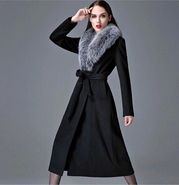 Long black wool winter coat