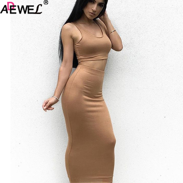 857a2c103fa9 ADEWEL Chic Women s Sexy 2 Pieces Breathable Tank Sleeveless V Neck Top  Maxi Dress Solid Long dresses Outfit Party Bodycon Dress