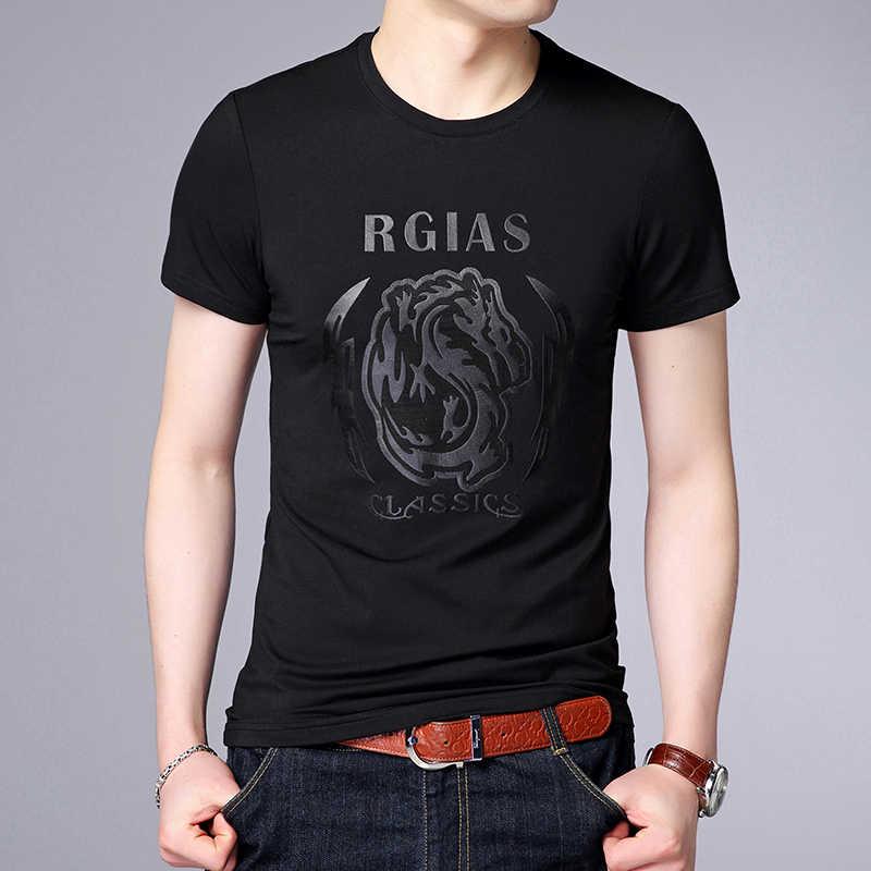 2019 nowa marka odzieżowa koszulki z krótkim rękawem męskie O Neck drukuj topy Street Style trendy lato koreański koszulki z krótkim rękawem mężczyzn odzież
