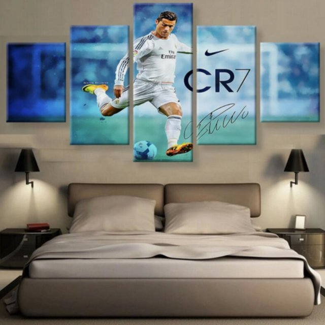 Real 5 panel canvas printed madrid ronaldo painting for living picture wall art hd print decor