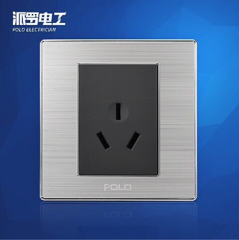 Free Shipping, POLO Luxury Wall Light Switch Panel, 3-Pins Socket, Champagne/Black, Electric Socket, 16A, 110~250V, 220V 1 piece free shipping anodizing aluminium amplifiers black wall mounted distribution case 80x234x250mm