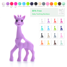 Silicone Giraffe Teether Soft Baby Teething Toy BPA Free Giraffe pendant necklace Baby Food Grade Necklace Teething Hanging Toy