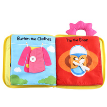 купить Funny Early education Toys Cloth Baby Book 0-12 months 100% Safe Fabric Story Books Learn To Wear Clothes Baby Boy Girl Gift по цене 739.82 рублей