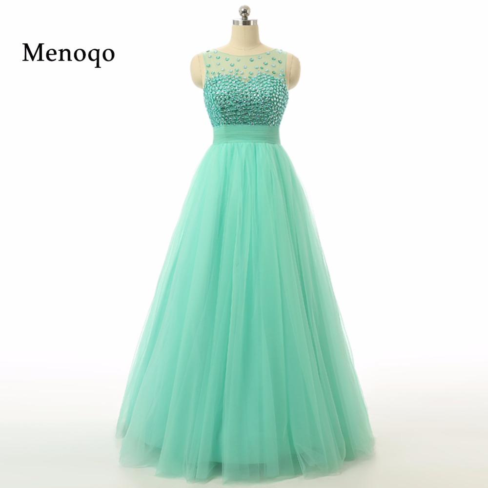 2019 Hot Sale Crystal Beaded Tulle Prom Dresses Mint Real Picture A line Floor length Special