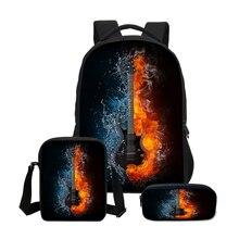 3個セット学校ティーンエイジャーの女子校バッグエレキギター印刷ノートパソコンのバックパック旅行バッグリュックサックmochila