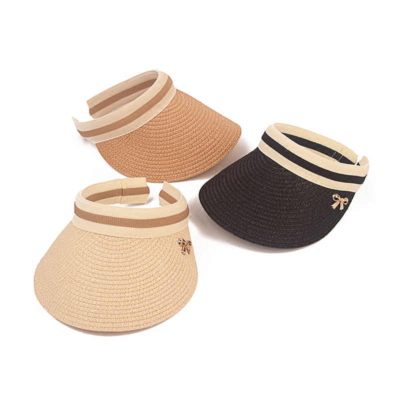 d8453add Cute Bow Sun Hat Female Beach Hat Wide Brim Straw Visor Hat Cap Summer Hats  For
