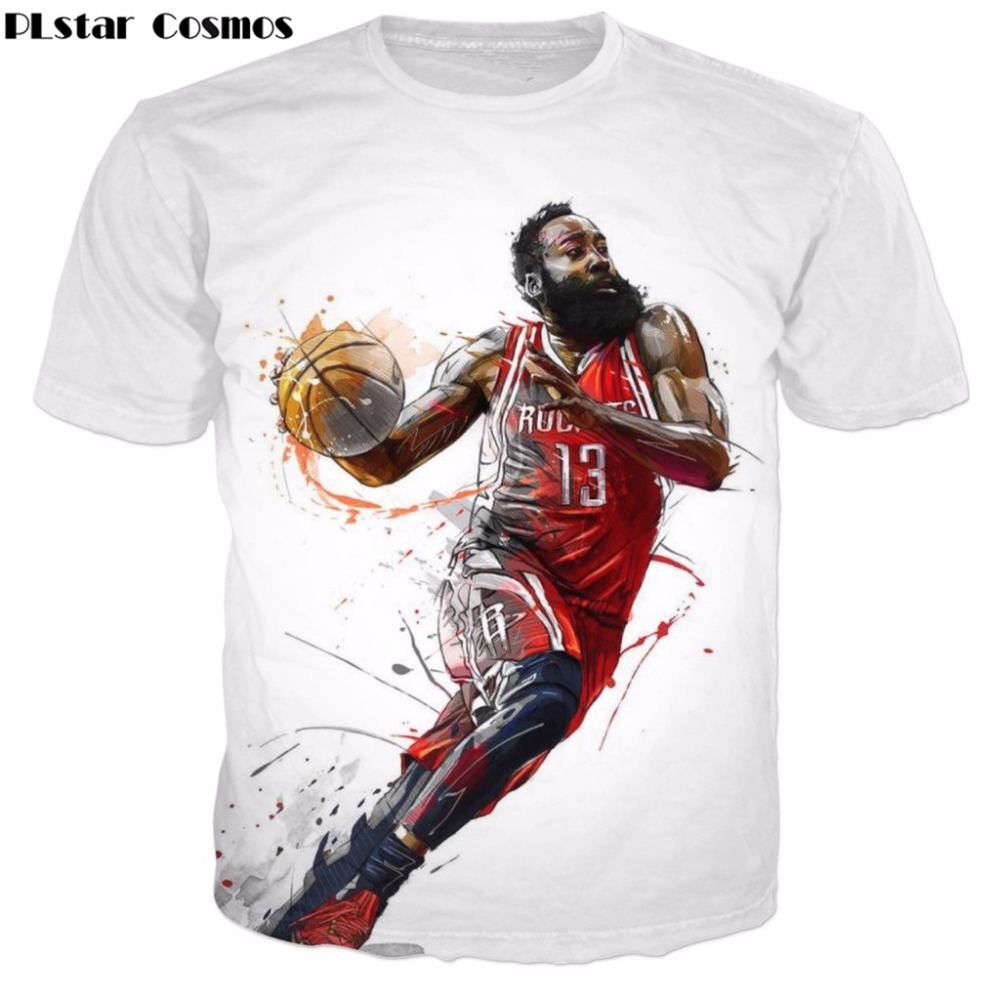 PLstar Cosmos 2017 summer New Fashion t-shirt Star character Funny James Harden 3d Print Men Women t shirts casual O-Neck tops