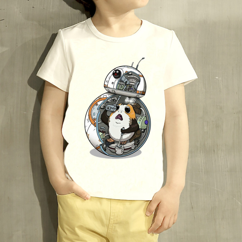 Kids Funny Pocket Porg Cartoon Design T Shirt Boys/Girls War Stars Short Sleeve Tops Children Cute T-Shirt,HKP5147 children s anime my neighbor totoro printed t shirt kids great casual short sleeve tops boys and girls cute t shirt