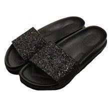Rutschen Schuhe 2017 Sommer Marke Frauen schuhe Mode Bling Glitter Flache Plateauschuhe Damenschuhe Hausschuhe Sandalen