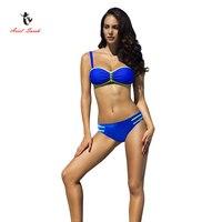 2017 Ariel Sarah Brand New Bikinis Women Talla Grande Biquini Infantil Gold Chain Decorated Solid Color