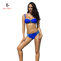 2017 Ariel Sarah Brand New Bikinis Women Talla Grande Biquini Infantil Gold Chain Decorated Solid Color