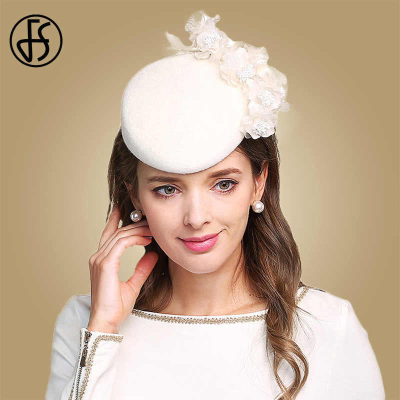 FS Fascinators For Women Elegant Flowers White Wedding Hat Wool Felt Pillbox Cocktail Hats Lady Fedoras Derby Church Female Cap