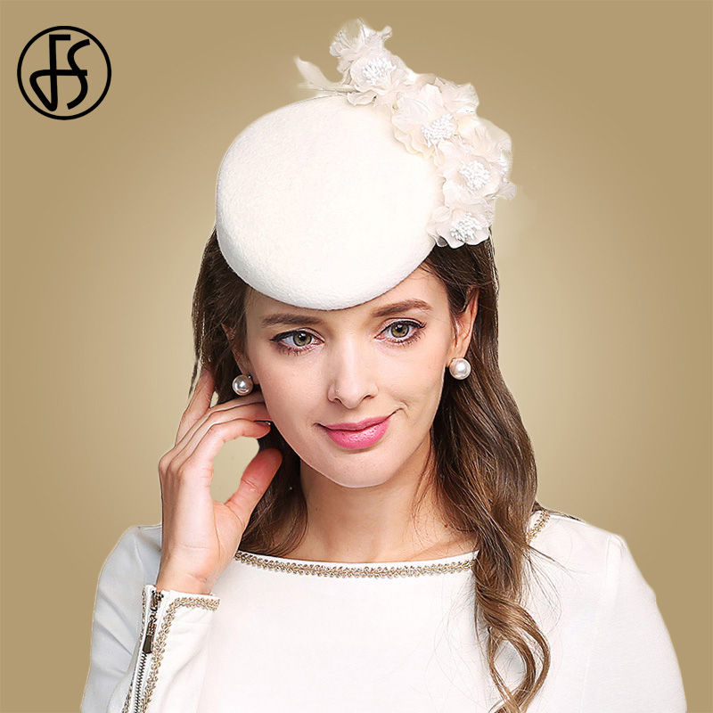 Hospitable Fs Fascinators For Women Elegant Flowers White Church Hat Wool Felt Pillbox Cocktail Hats Wedding Lady Fedoras Derby Female Cap With The Best Service