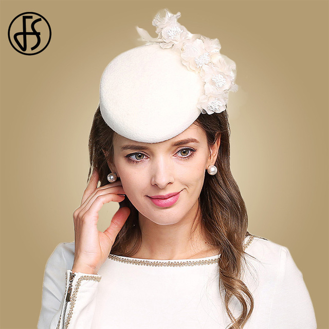 64d7b85e0 FS Fascinators For Women Elegant Flowers White Church Hat Wool Felt Pillbox  Cocktail Hats Wedding Lady