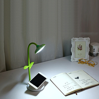 Sunflower Desk Lamp Flexible Gooseneck LED Table Lamp With Phone Stand Holder Touch Sensitive Rechargeable