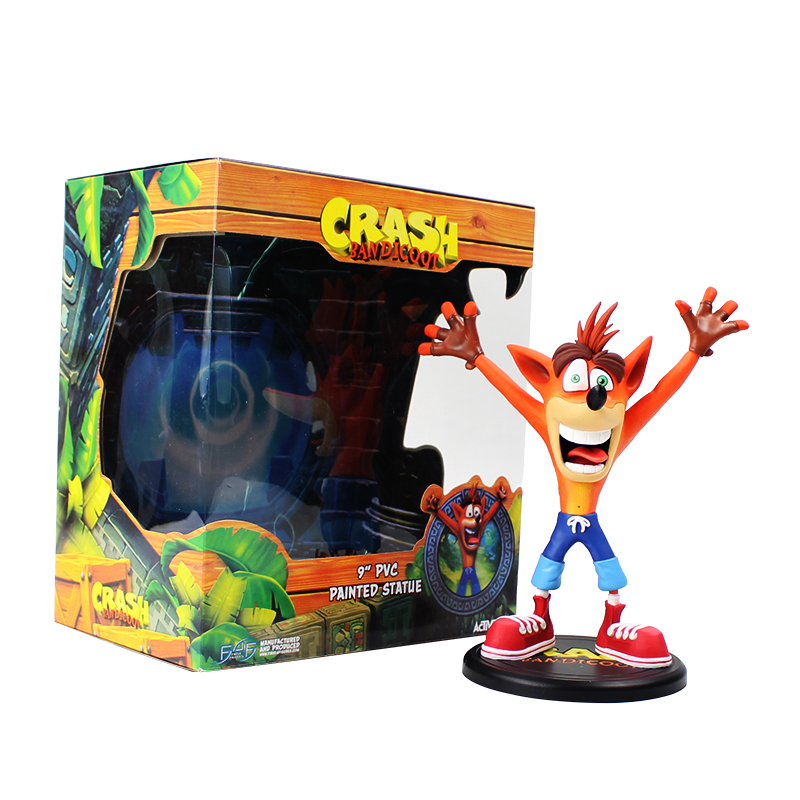 все цены на 1pcs 23cm Anime Crash Bandicoot Action Figure Game Crash PVC Painted Statue Activision ACT PVC Collectible Model Toys