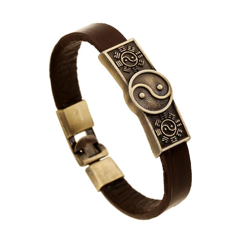 ER 2016 Ethnic Viking Bracelet Real Leather Weed Leaf Bangle Scull Braslet Indian Tribal Jewelry Pulseras Hombre Cuero LB147