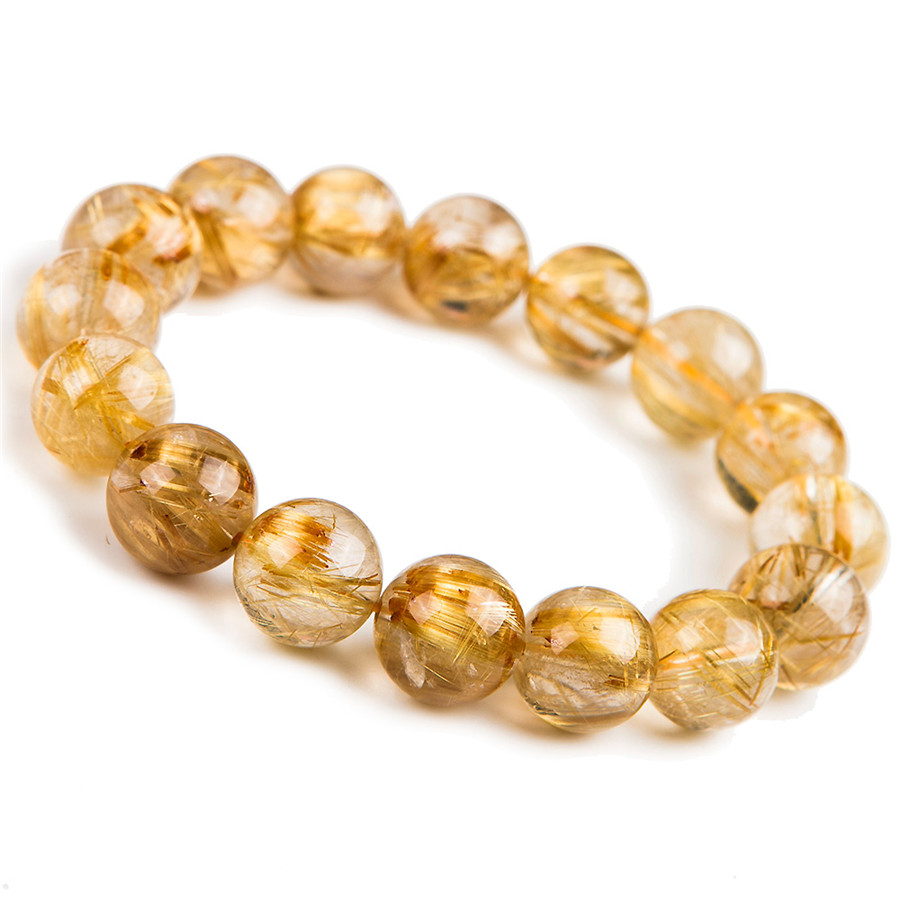 2018 New 14.5mm Natural Gold Rutilated Quartz Crystal Clear Round Beads Bracelet Women Men Charm Stretch Bracelet Drop Shipping