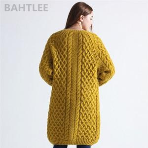 Image 4 - BAHTLEE Winter Long Sleeve Warm Mohair Cardigan Knitting Wool Jacquard Weave Sweater Women O Neck Jumper Pocket Mustard Yellow