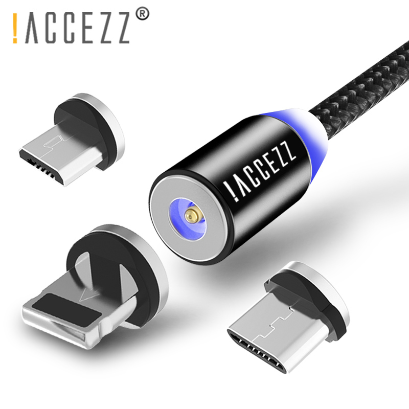 ACCEZZ Magnetic Charger Cables Lighting For iPhone XS XR X 8 Plus Charging Cable Micro USB Type C For Samsung S9 Charge Cord 2M in Mobile Phone Cables from Cellphones Telecommunications