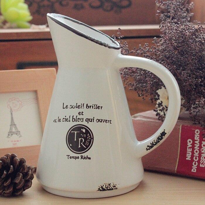 Zakka Vintage Mini Ceramic Milk Jug Vase Letters Vase Flower Pot