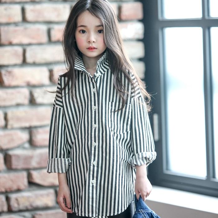 2016 Autumn Black White Striped Blouse for Teens Girls ...