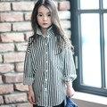 2016 Otoño Negro Blanco Rayas Blusa para Adolescentes Niñas Camisa Casual Tops Estilo Coreano 5 6 7 8 9 10 11 12 13 14 T Años de Edad Los Niños