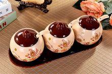 Керамика приправ соус солонка коробки в бутылках Творческий Кухня канистра сахарница с носиком масленка