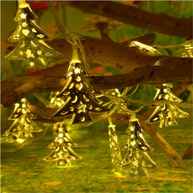 20led 2m metal hollow solar christmas tree fairy string lights romantic christmas xmas wedding festival party