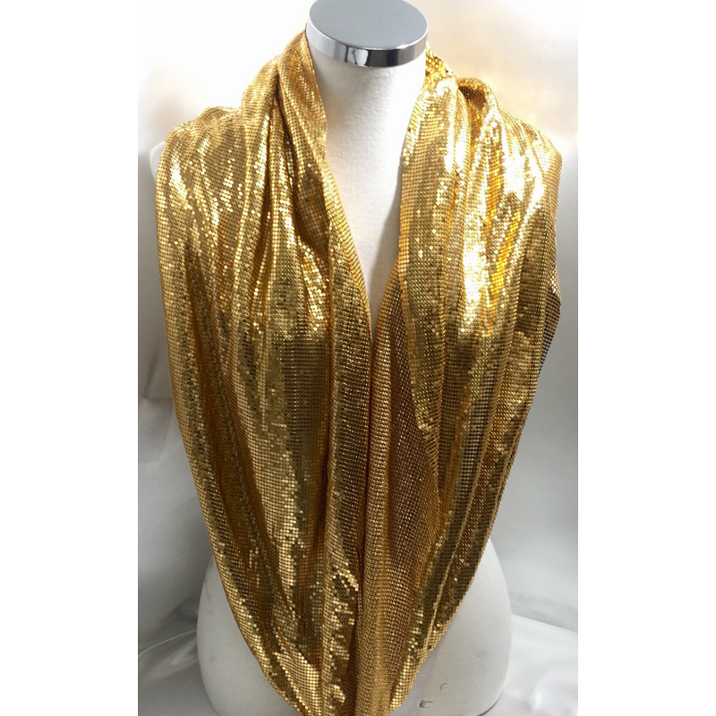 150 90CM fashion gold metal mesh fabric Metallic cloth Sequin use for apparel table runner curtains