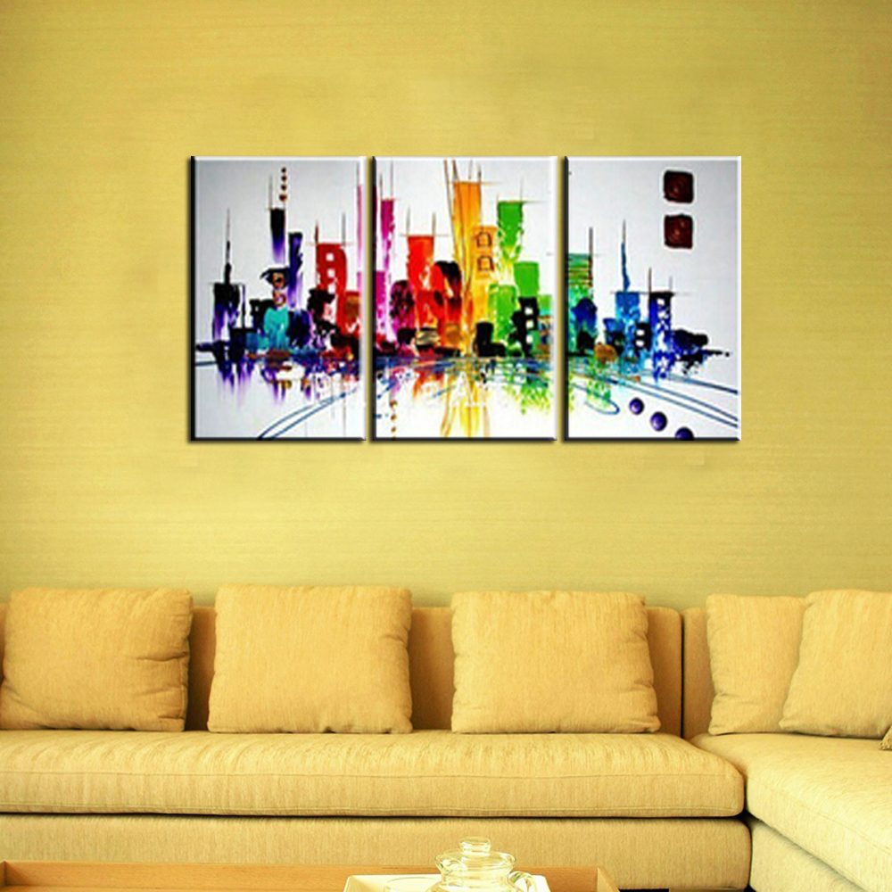 3 piece modern canvas wall art triptych Muti Abstract city handmade ...