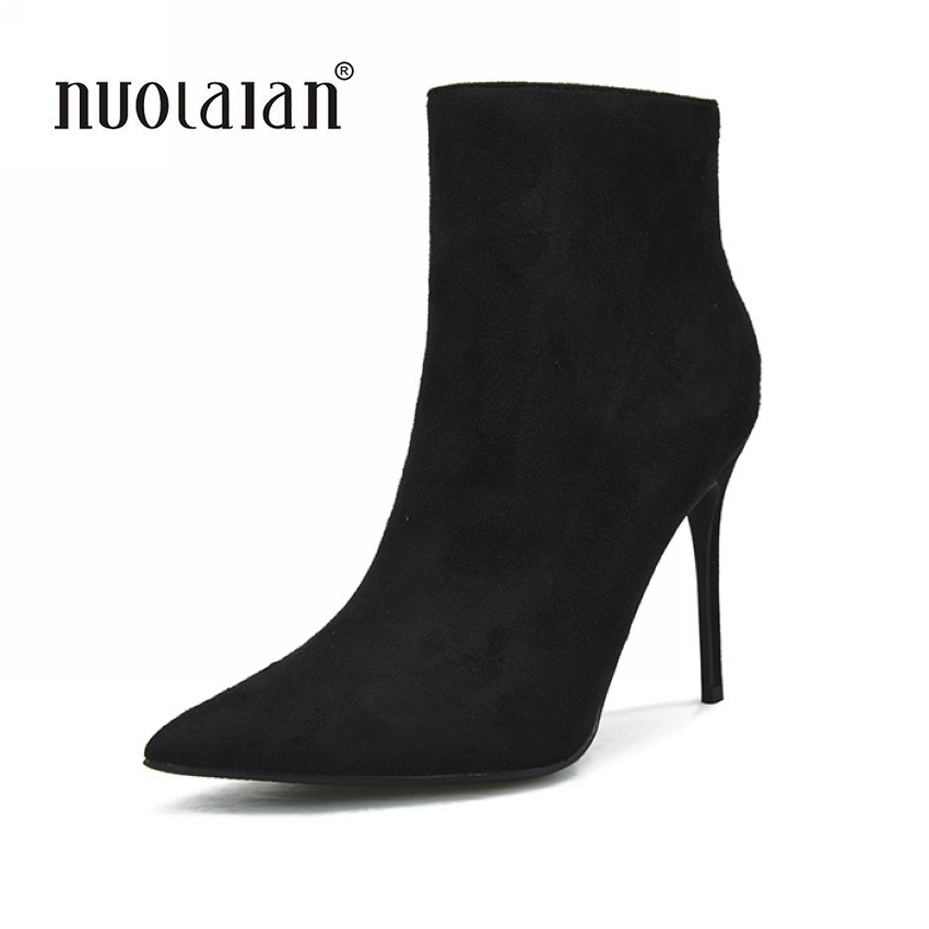 2018 Women Winter Boots Sexy Pointed Toe Ankle Boots For Women Short Plush Stiletto Shoes High Heels Boots Women batzuzhi 2018 new handmade women ankle boots 14cm platfrom short boots for women sexy winter warm plush ankle boots for women