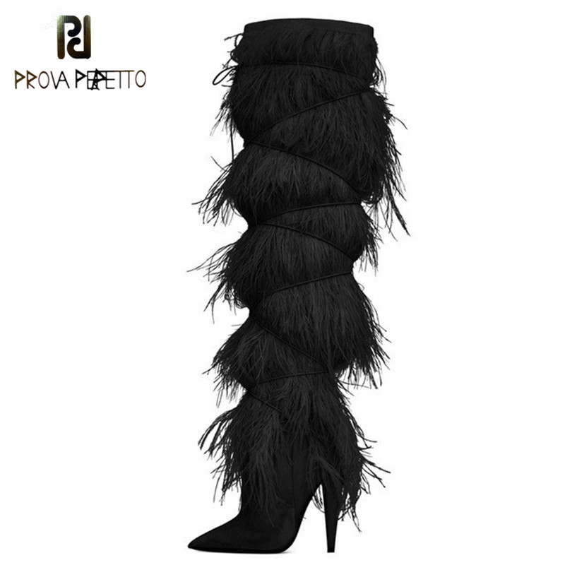 Prova Perfetto Feather Tassel Cover Suede Knee High Boots Runway Shoes Woman Pointy High Heel Leather