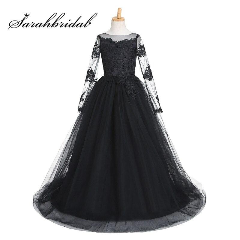 Black Lace Long Sleeves Flower Girls Dresses Sheer O Neck Tulle ...