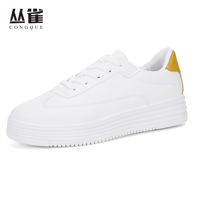 Hot sale White shoes women casual round toe PU upper with shoe laces solid color rubber bottom all-match Zapatos mujer sapato 40