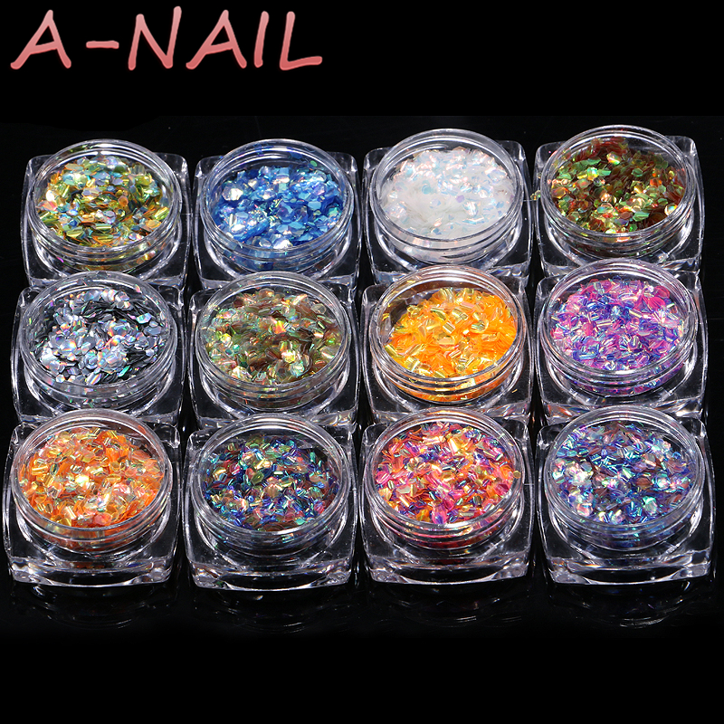 1Set With 12 Colorful Fish Scale Flakes Iridescent Colors Shs