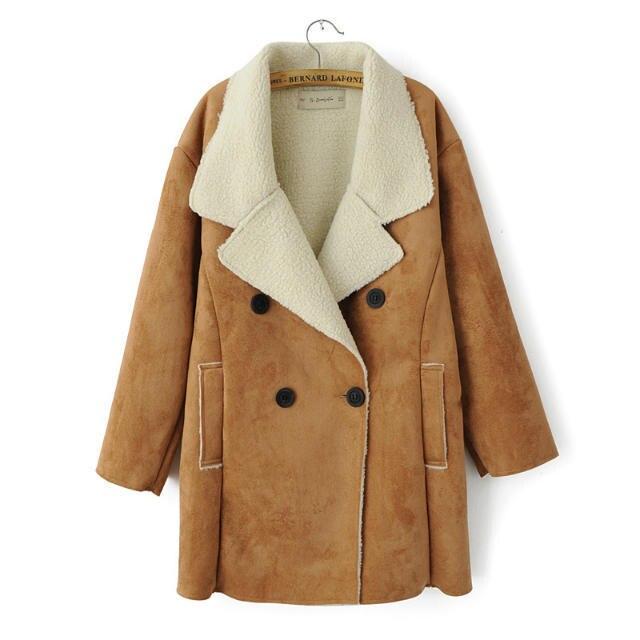9a0d103abb US $47.25 |Pelle di pecora camoscio mantello irregolare donne giacca  invernale cappotto cappotti 2015 risvolto delle donne di spessore caldo  cappotti ...