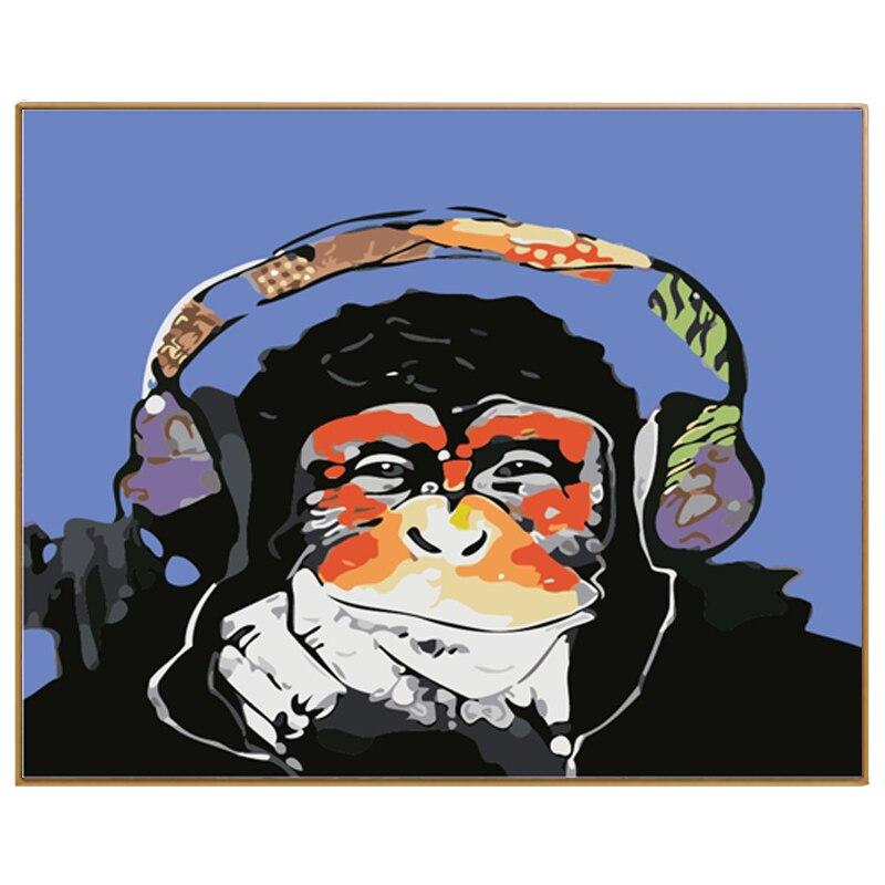 PHKV Peinture Par Numéros Avec Cadre Image de Bande Dessinée Singe D'écoute à Musique Peinture Par Numéro Kits Dessin Sur Toile Home décor
