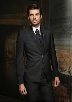 Custom Made Groom Tuxedo Black Groomsmen Mandarin Lapel Wedding/Dinner Suits Best Man Bridegroom (Jacket+Pants+Tie+Vest) B446