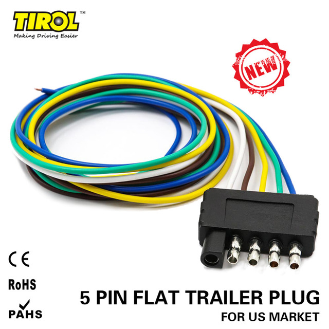tirol 5-way flat trailer wire harness extension connector plug with 36  inchcable length end