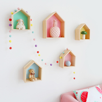 Nordic Style Wooden Shelves Children Room Wood House Clapboard Shelves Wall Craft House Snow Mountain Tripod Home Decoration