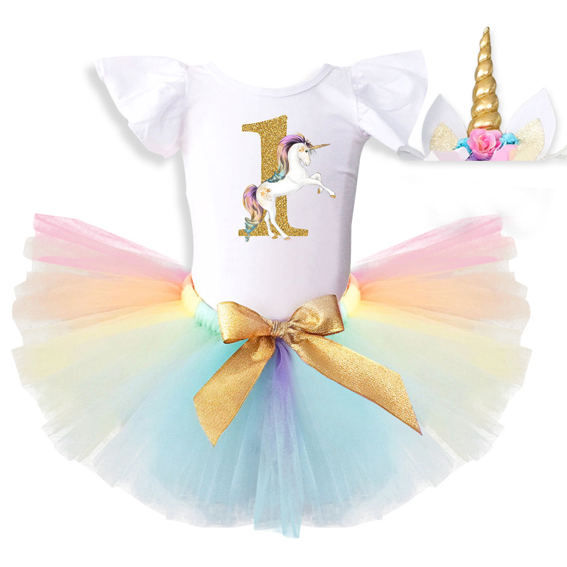 Unicorn Party Dress Newborn 1st First Baby Girl Birthday Dresses Infant Baby Girls Clothes Kids Christening Gowns For 1 Year Old
