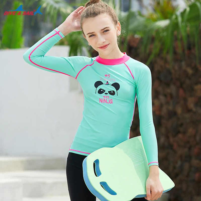 Pemuda Anak-anak Dasar Kulit UPF 50 + Panjang atau Pendek Ruam Penjaga Kompresi Surf Berenang Baju Pelindung Matahari Baju Renang top Anak Perempuan Anak Laki-laki