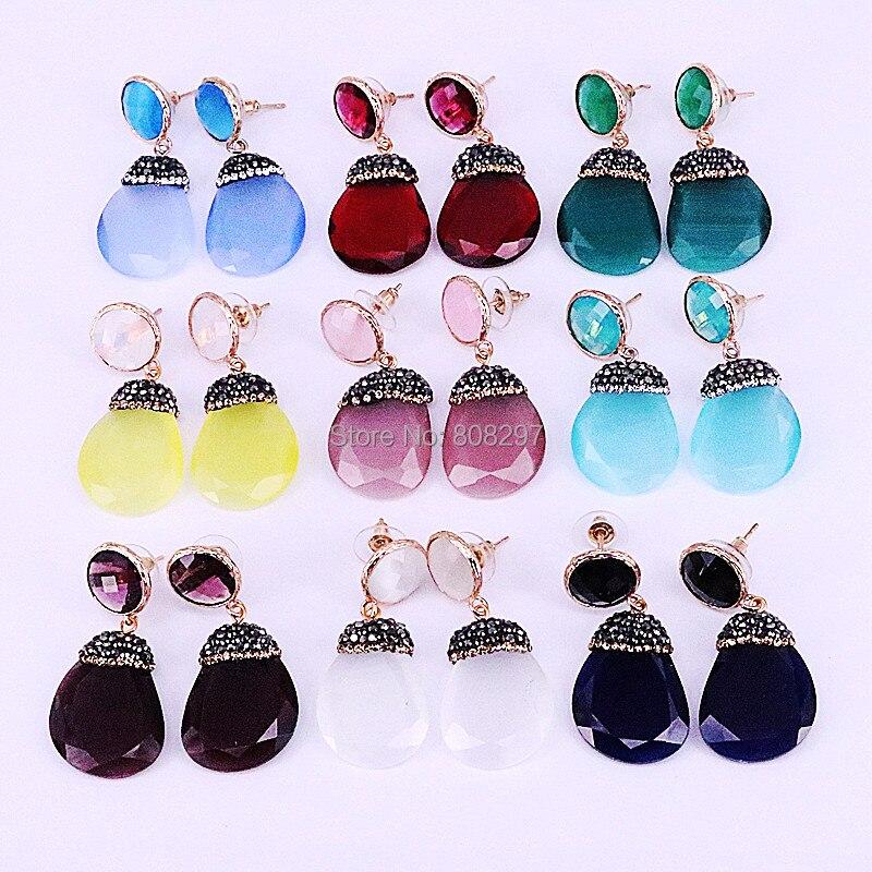 5Pair Paved Rhinestone Crystal Glass Gem Dangle Earrings Women Trendy Drop Earrings