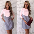 Europe And America Women Dress Round Neck Long Sleeve Splicing Hit Color Office Lady Casual Cute Bottoming Dress 3 Colors